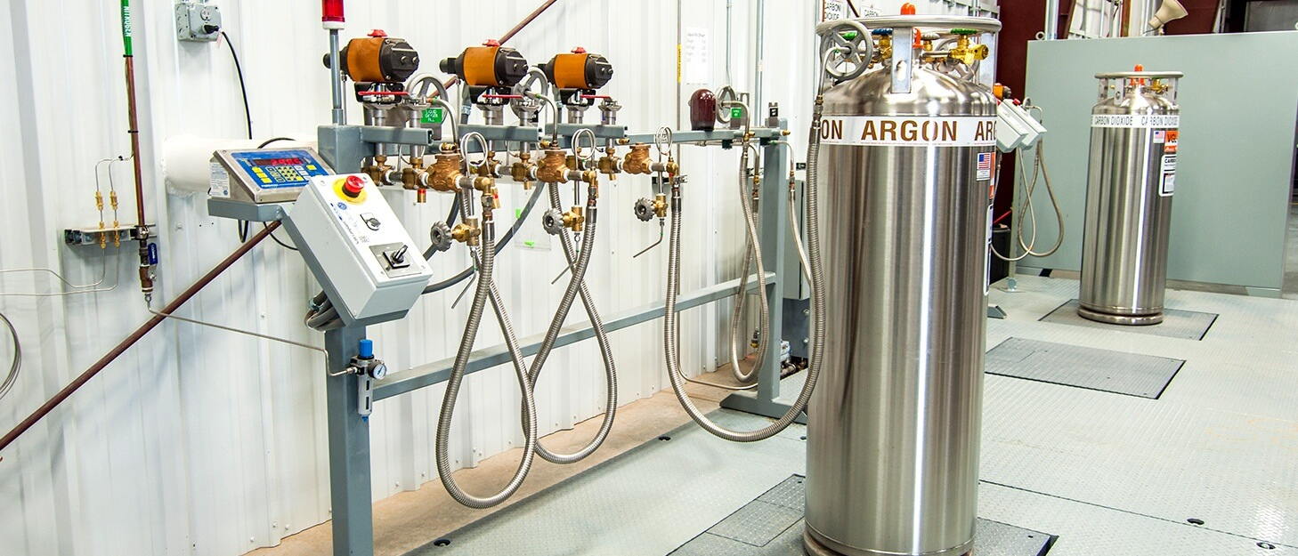 Weldcoa installed gas cylinder filling station filling a gas cylinder with Argon gas