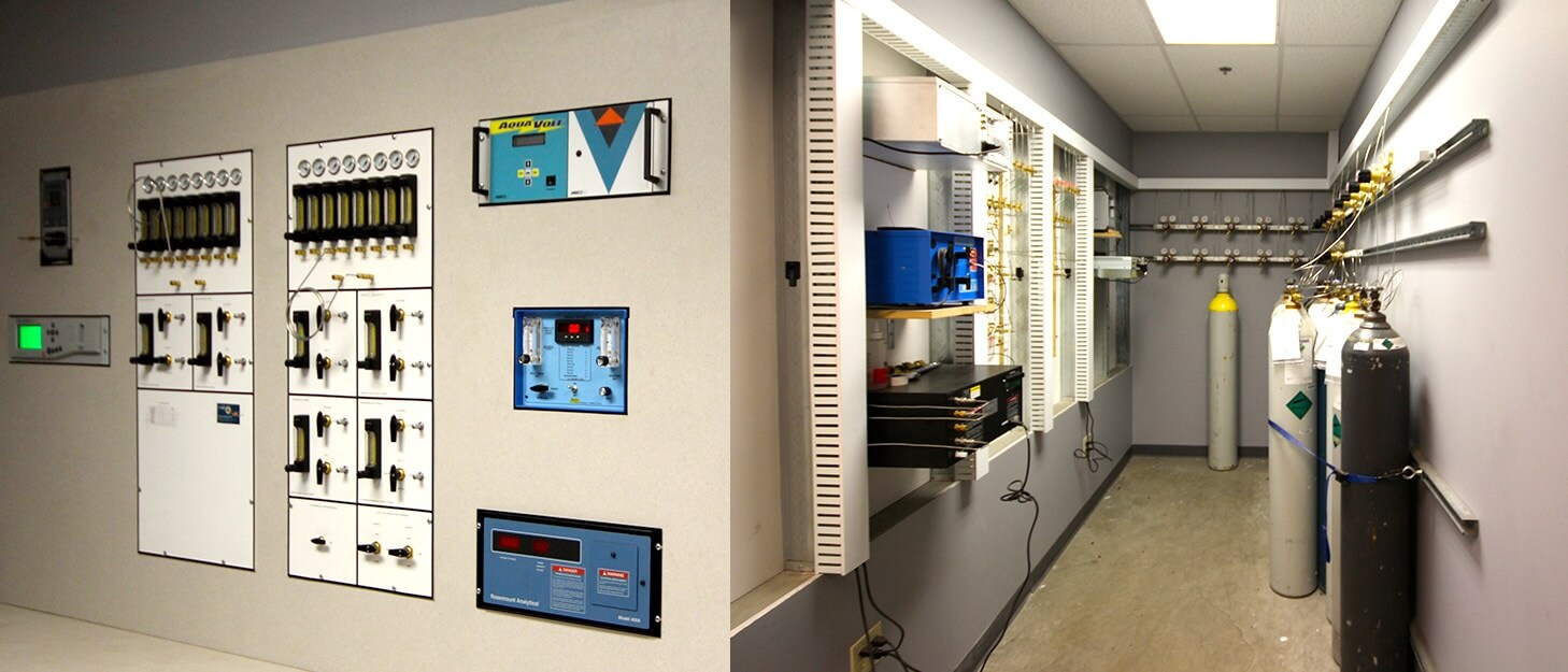 control panels and gas cylinders in a automated fill station
