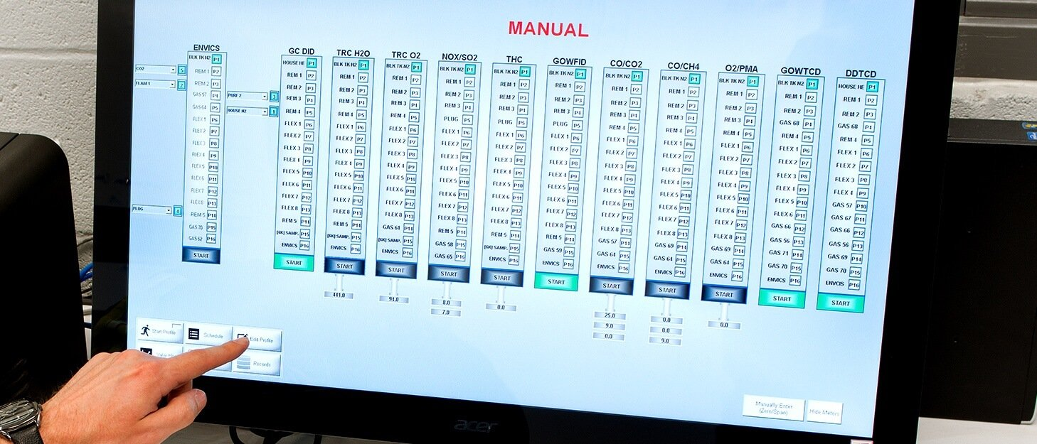 close up of the control panel used fill gas cylinders