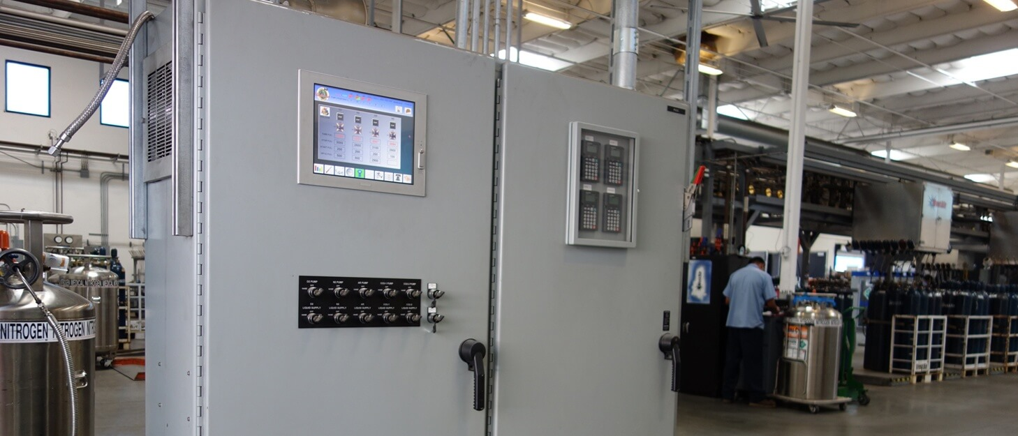 control panel for a gas cylinder fill system